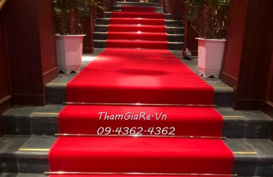 Thi công thảm đỏ đường dẫn lối đi công trình 63 Phạm Hồng Thái