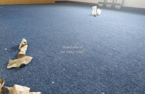 Thi công thảm cuộn màu xanh dương cho văn phòng 91 Nguyễn Chí Thanh